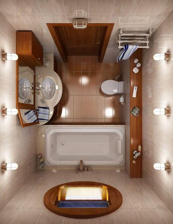 Διακόσμηση μπάνιου με ξύλινα στοιχεία.