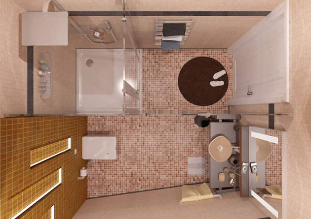 Μικρό μπάνιο με ψηφιδωτό πάτωμα.