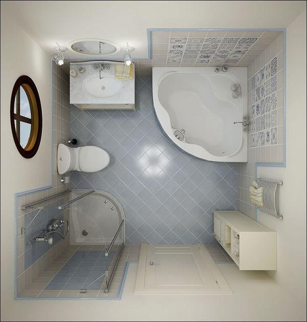 Μικρό μπάνιο σε μπλε και άσπρες αποχρώσεις.