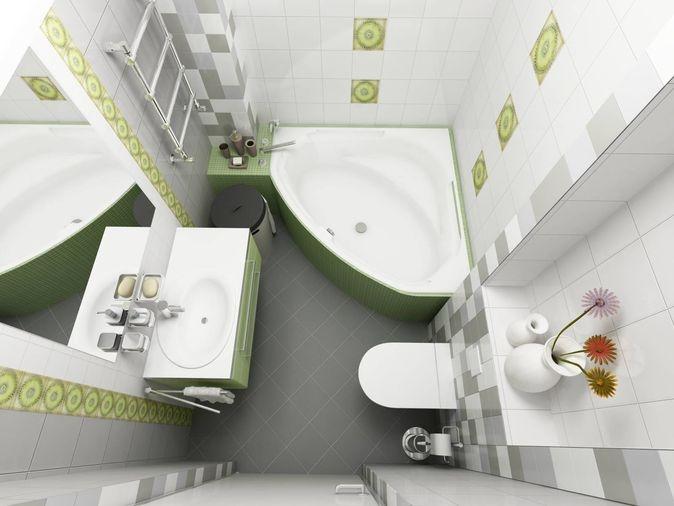 Μικρό μπάνιο σε πράσινες πινελιές.