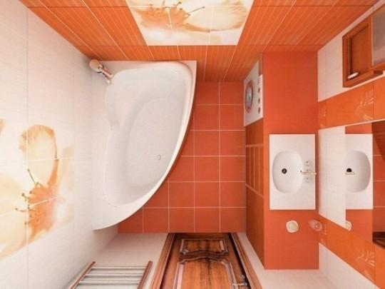 Μικρό μπάνιο σε πορτακαλί απόχρωση.