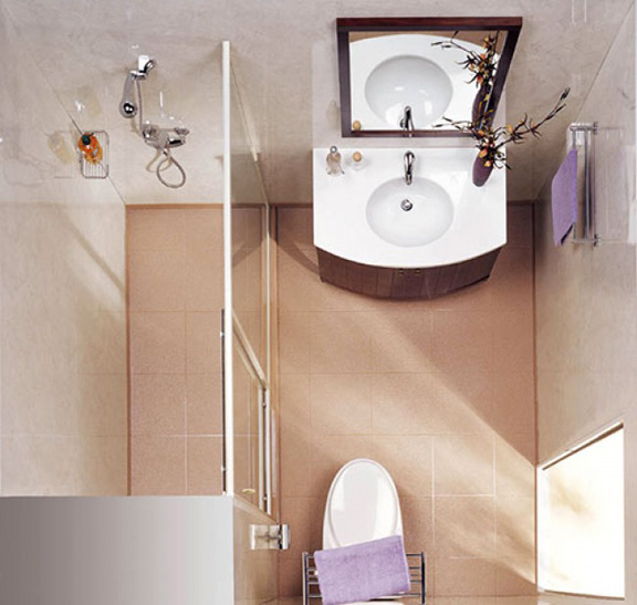 Μικρό μπάνιο με ξύλινες λεπτομέρειες.